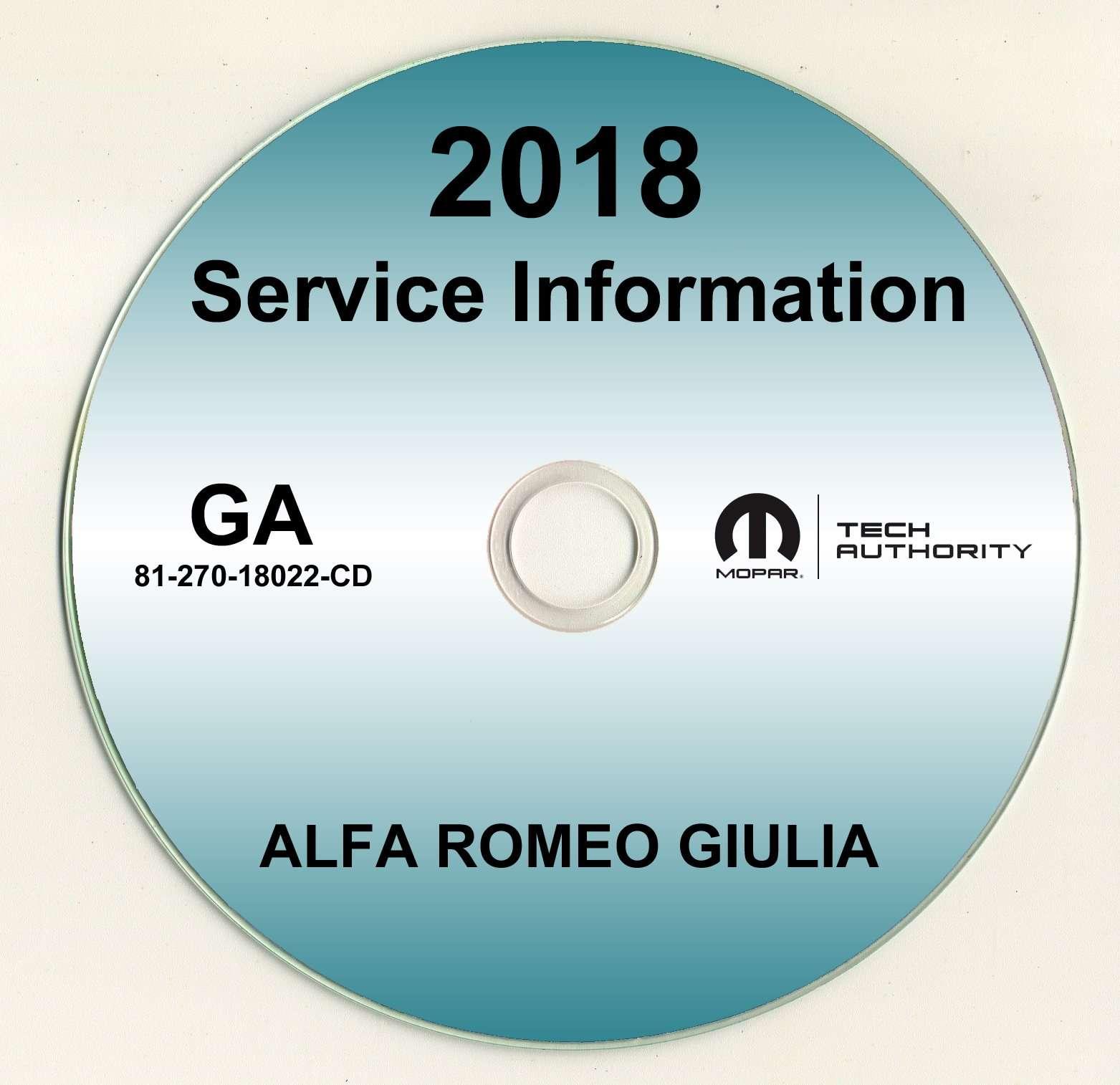 2018 Alfa Romeo Giulia Service Manual CD